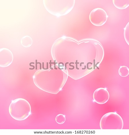 Pink valentines background with soap bubbles in the form of Hearts, illustration.