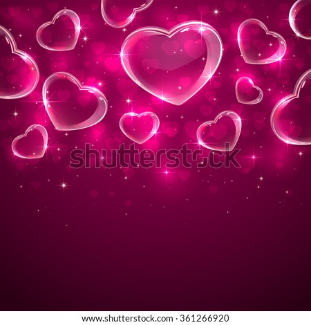Pink Valentines background with transparent hearts, illustration.  - stock vector