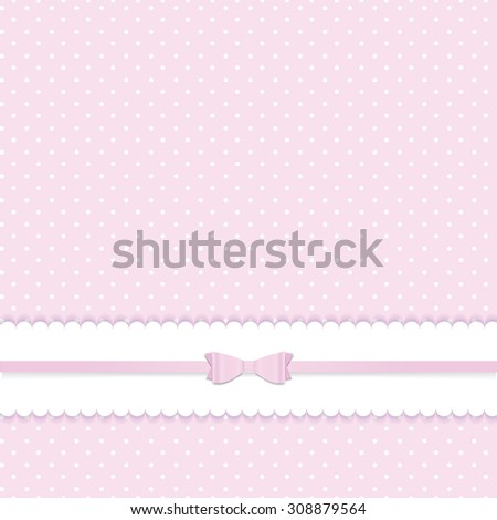 Pink vector card invitation for baby shower or birthday party with white polka dots.  - stock vector