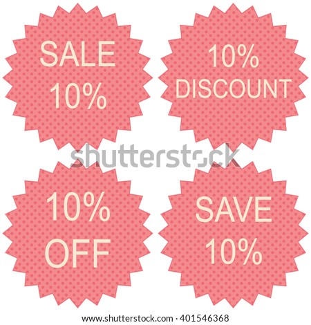 Pink vector discount price sign and badges - stock vector