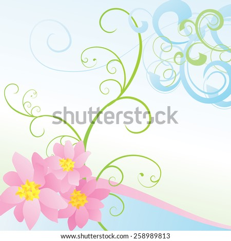 pink vector flowers on blue background