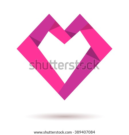 Pink vector heart logo. Paper heart. Heart shaped origami. Heart icon. Together logo. Love health doctor relations. Logo heart together. Family children, baby, mother, union, charity logo - stock vector