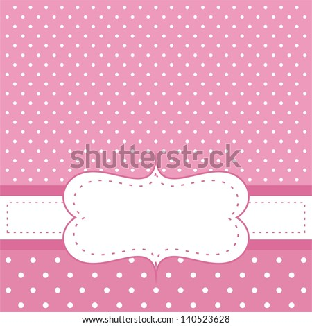 Pink vector invitation card for baby shower, wedding or birthday party with white polk dots on dark pink background. Cute background with white space to put your own text.