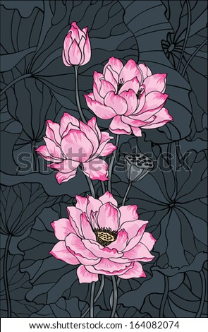 Pink vector lotus on dark background - stock vector