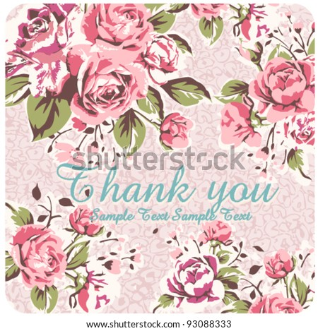 pink vintage rose with leopard card - stock vector