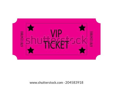 Pink VIP Ticket. Vector - stock vector
