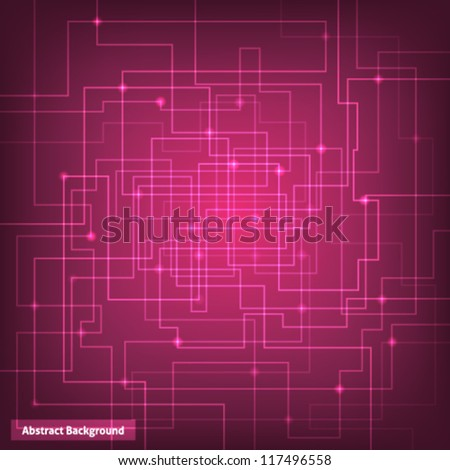 Pink virtual technology circuit background. This vector image is fully editable. - stock vector