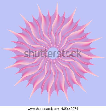 Pink vortex, abstract geometric spiral on a blue background. Vector blending - stock vector