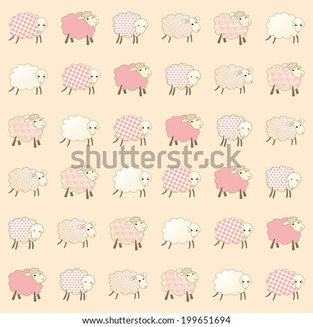 pink wallpaper with baby lambs - stock vector