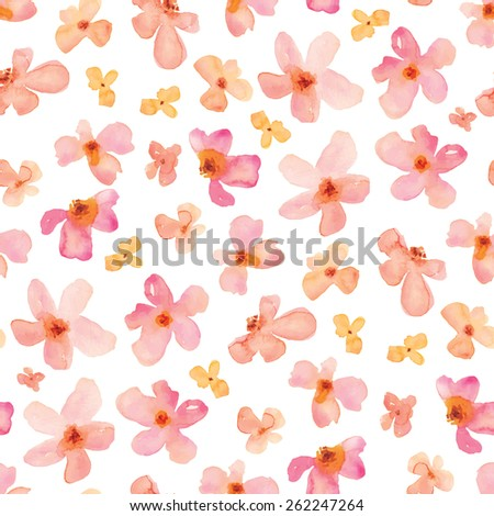Pink Watercolor Flowers Repeating Background Pattern.  - stock vector