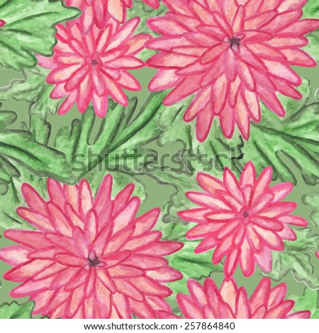 Pink watercolor flowers with green leaves seamless pattern - vector - stock vector