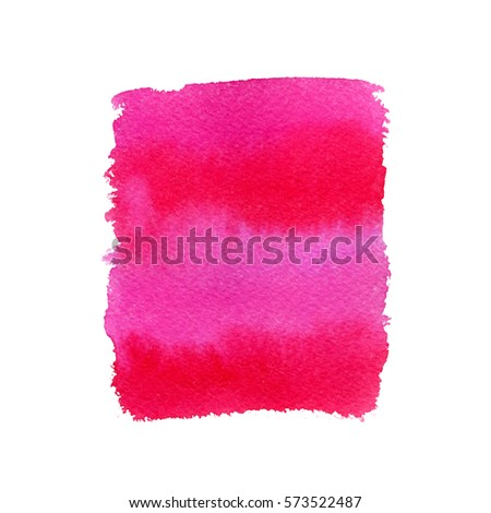Pink watercolor hand drawn element. Vector background.