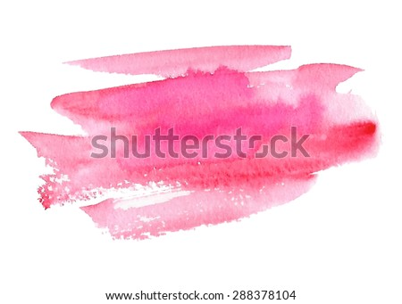 Pink watercolor hand drawn isolated paper texture strokes on white background. Wet brush painted smudges abstract vector striped illustration. Design water element for banner, print, template, web  - stock vector