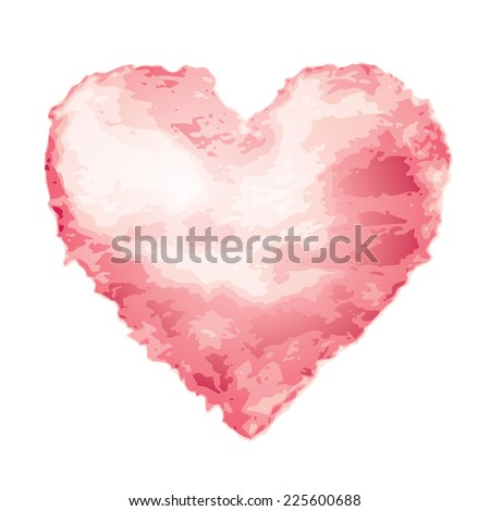 Pink watercolor heart shape. Eps8. CMYK. Global colors. Organized by layers. Gradients used. - stock vector