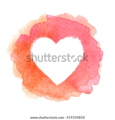 Pink watercolor painted heart shape vector frame - stock vector