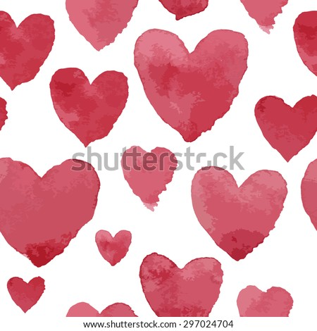 Pink watercolour hearts on white, seamless pattern - stock vector