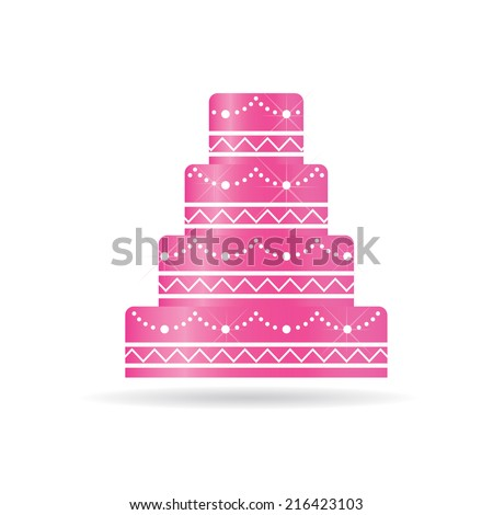 Pink Wedding cake for invitations or card. Vector design