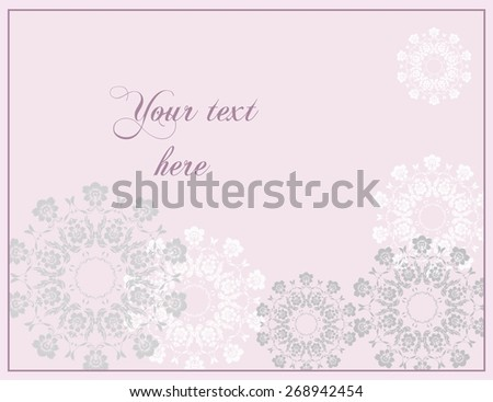 Pink Wedding or Anniversay greeting card in baroque style. - stock vector