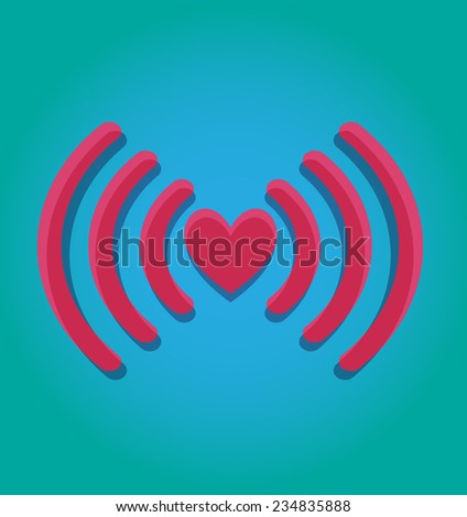 Pink wifi icon - stock vector