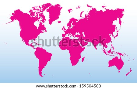 pink world map - stock vector