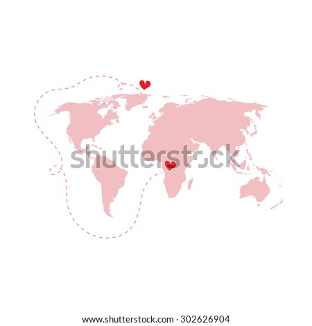 Pink world map atlas love around vectores en stock 302626904 pink world map atlas with love around the world red heart isolated vector gumiabroncs Choice Image