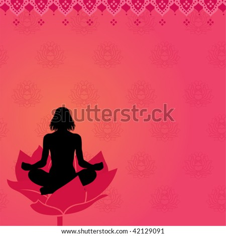 Pink yoga background - stock vector