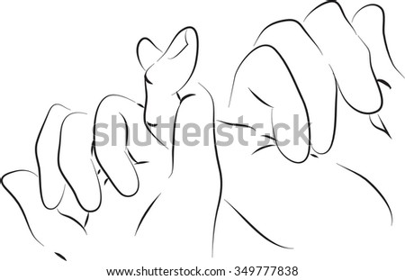 pinkie friends hand black and white simple line illustration - stock vector