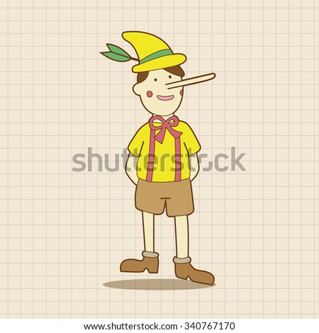 Pinocchio theme elements - stock vector