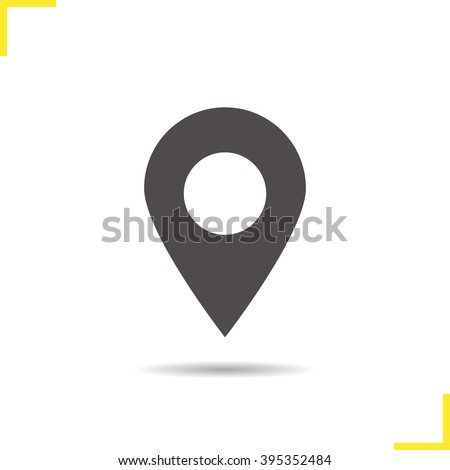 Pinpoint icon. Drop shadow geolocation mark silhouette symbol. Location map pointer. Vector place marker isolated illustration - stock vector