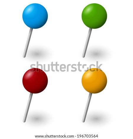 Pins Collection - 4 pieces - stock vector