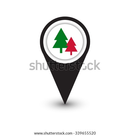 pins sign location icon inside pine tree green and red colour christmas concept ,Black round shapes and gray gradient shadow on white background. Vector illustration web design element save in 10 eps. - stock vector