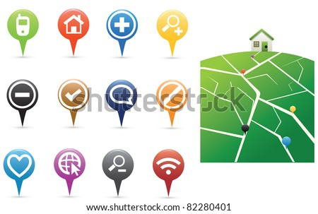Pins with with map - stock vector