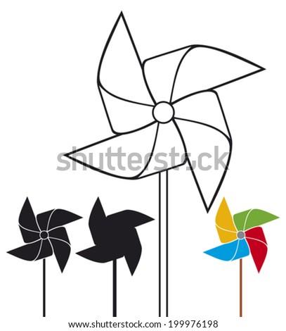 pinwheel collection (pinwheel set, toy windmill propeller set) - stock vector
