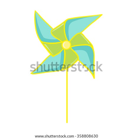 Pinwheel. Colorful paper pinwheel isolated on white. Vector illustration of a toy windmill. Perfect for invitations, save the dates, and thank you cards. - stock vector