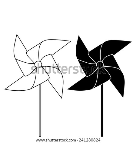 PINWHEEL OUTLINE AND SILHOUETTE illustration vector - stock vector