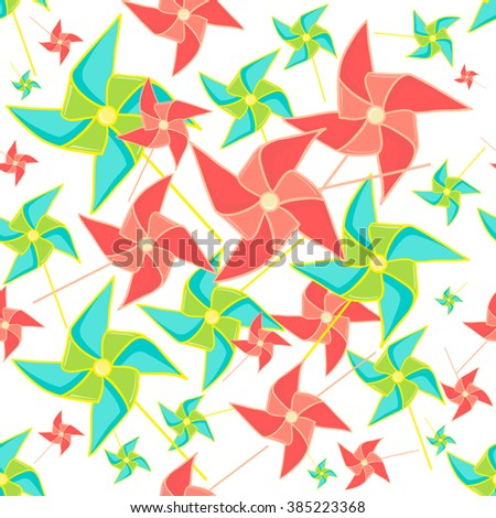 Pinwheel seamless pattern. Colorful paper toy windmills on white background. Perfect for invitations, save the dates, and thank you cards. Vector illustration.  - stock vector