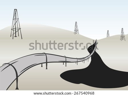Pipeline and oil rigs spills in desert. Perspective vintage vector illustration