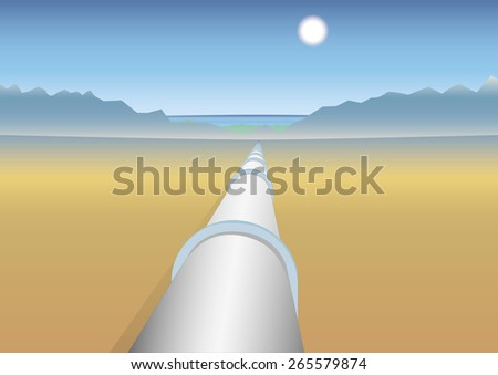 Pipeline in desert to mountains and sea. Perspective vector illustration - stock vector