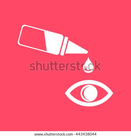 Pipette and eye  white icon on magenta color background. Eps-10. - stock vector