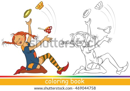 Pippi Longstocking. Fairytale characters. Coloring page for children with colored sample. Outline drawing. Vector cartoon black and white illustration