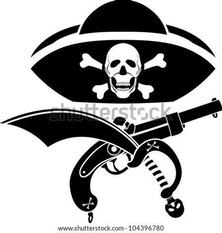 piracy symbol, hat with skull, gun and sabre - stock vector