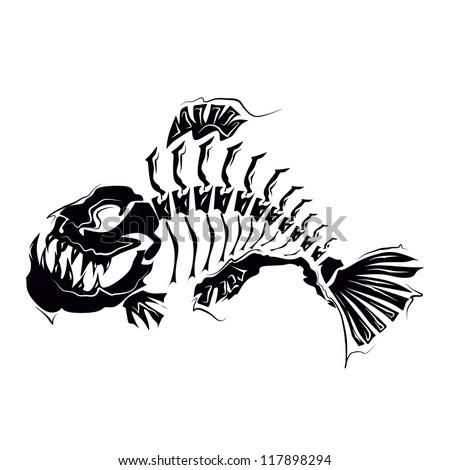 Piranha skeleton tattoo - photo#29