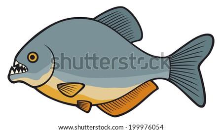 piranha fish - stock vector