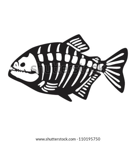 Piranha skeleton tattoo - photo#33