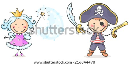 Pirate and fairy costumes - stock vector