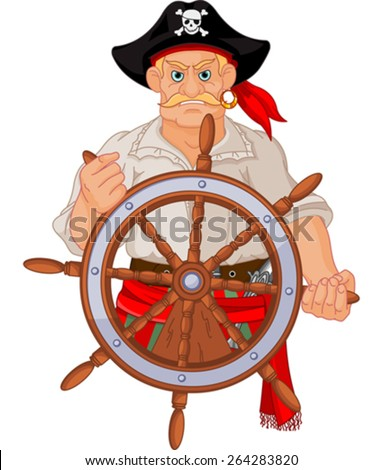 Pirate at the wheel of his ship - stock vector