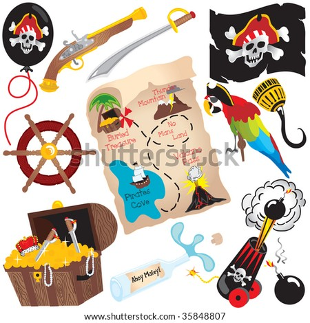 Pirate Birthday Party Clip art elements, isolated on white