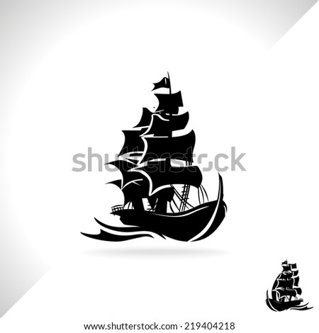Pirate boat vector  - stock vector