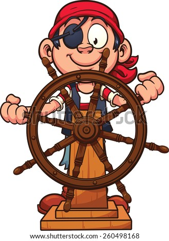 Pirate boy at the rudder. Vector clip art illustration with simple gradients. All in a single layer.  - stock vector