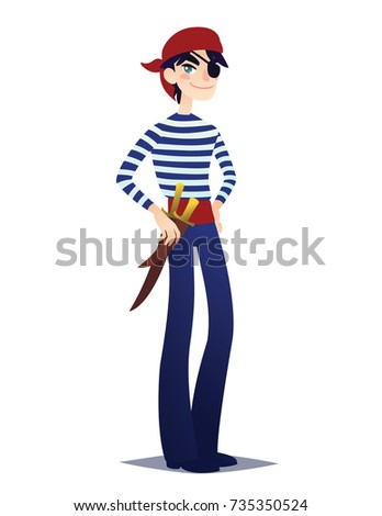 Pirate boy with dagger. Cute young man in style of Sea Corsair in red bandana and belt with weapon going for Costume party. Vector illustration in cartoon style on white background. Buccaneer.